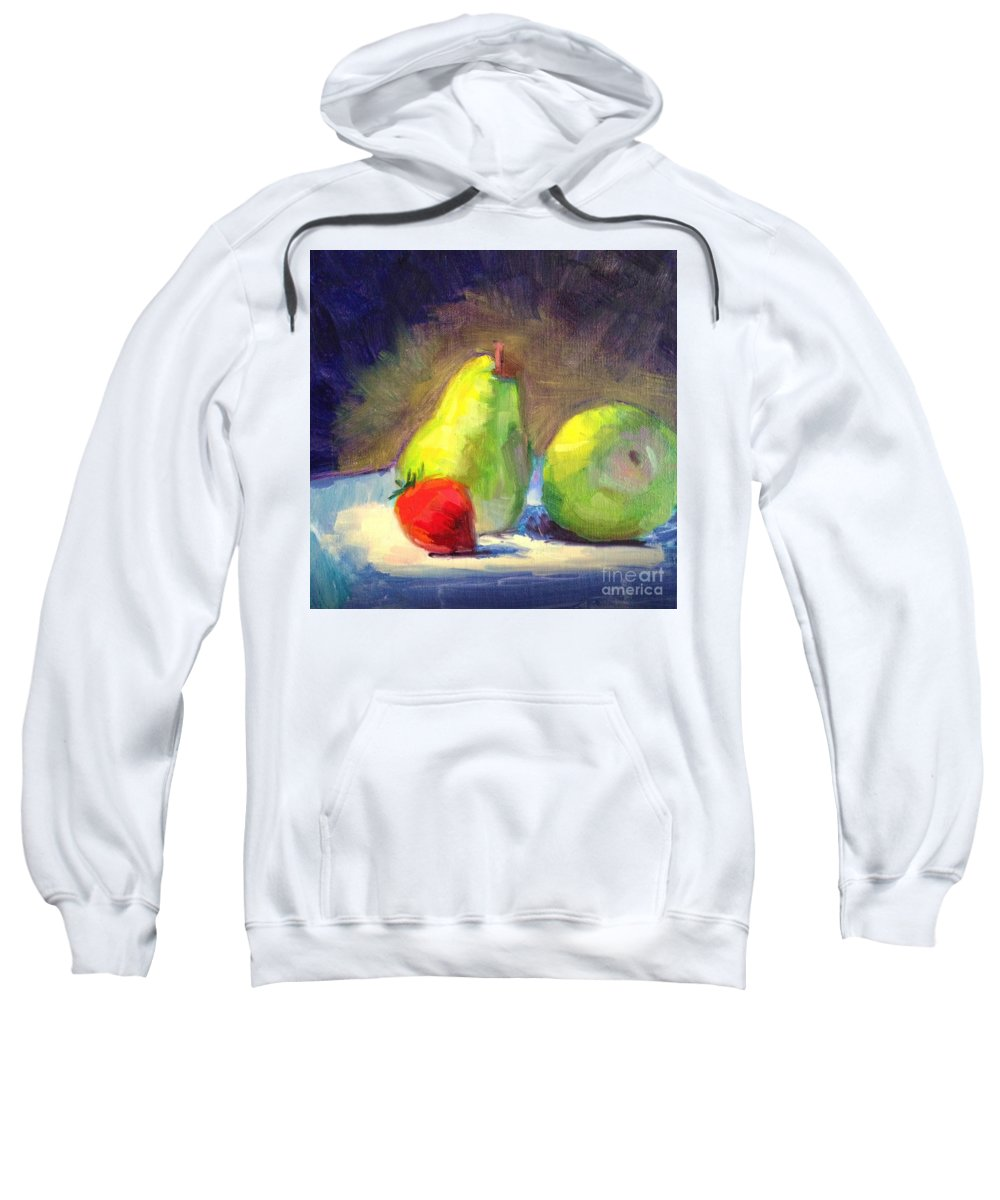 Fruit Sweatshirt featuring the painting Strawberry Steals The Show by Pamela Ayres