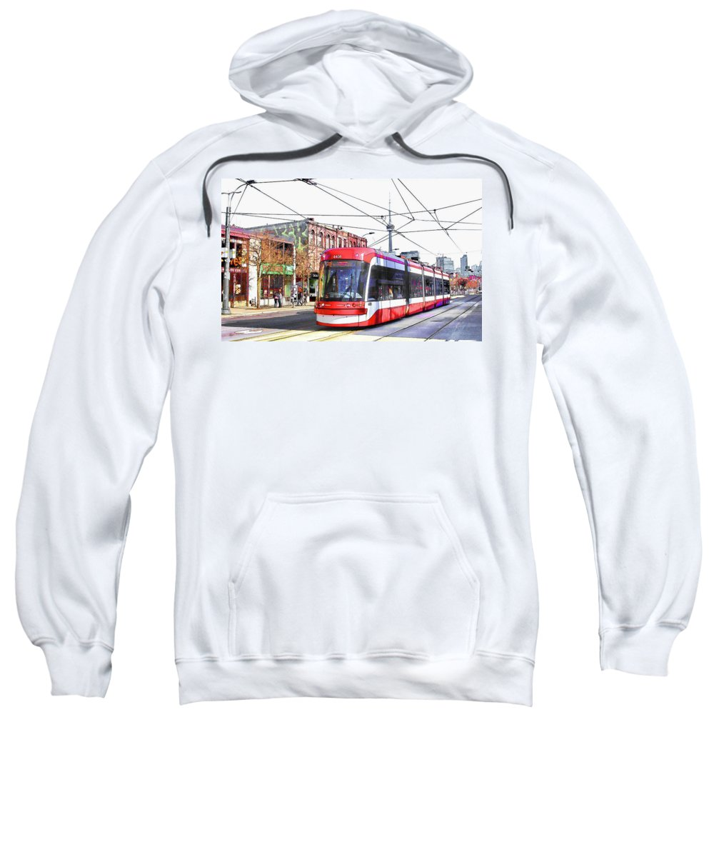 Toronto Sweatshirt featuring the photograph Streetcar On Spadina Avenue #17 by Alex Pyro