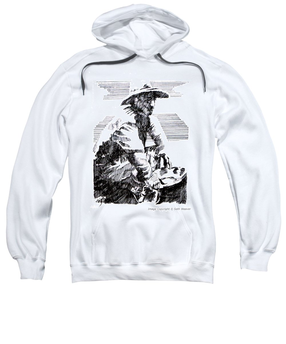 1850's Old West Sweatshirt featuring the drawing Striking It Rich by Seth Weaver