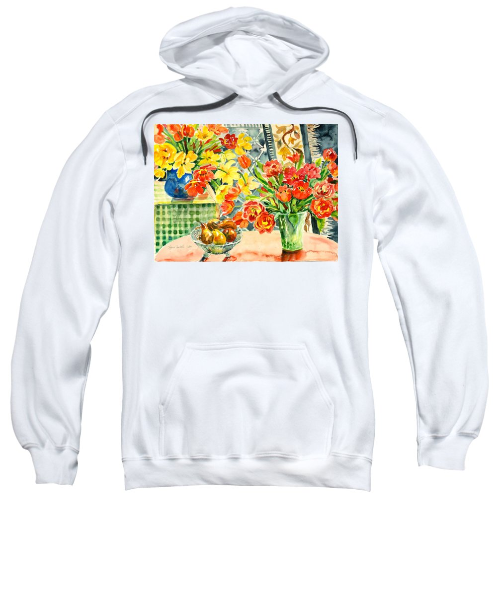 Watercolor Sweatshirt featuring the painting Studio Still Life by Alexandra Maria Ethlyn Cheshire