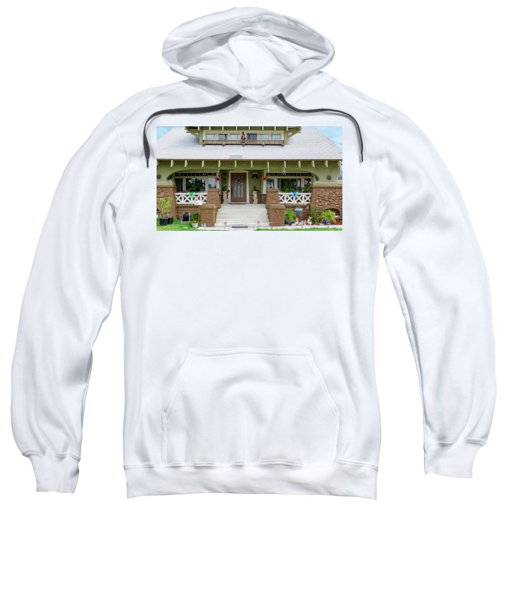 Arts And Crafts Sweatshirt featuring the photograph Suburban Arts And Crafts Style House Hayward California 15 by Kathy Anselmo