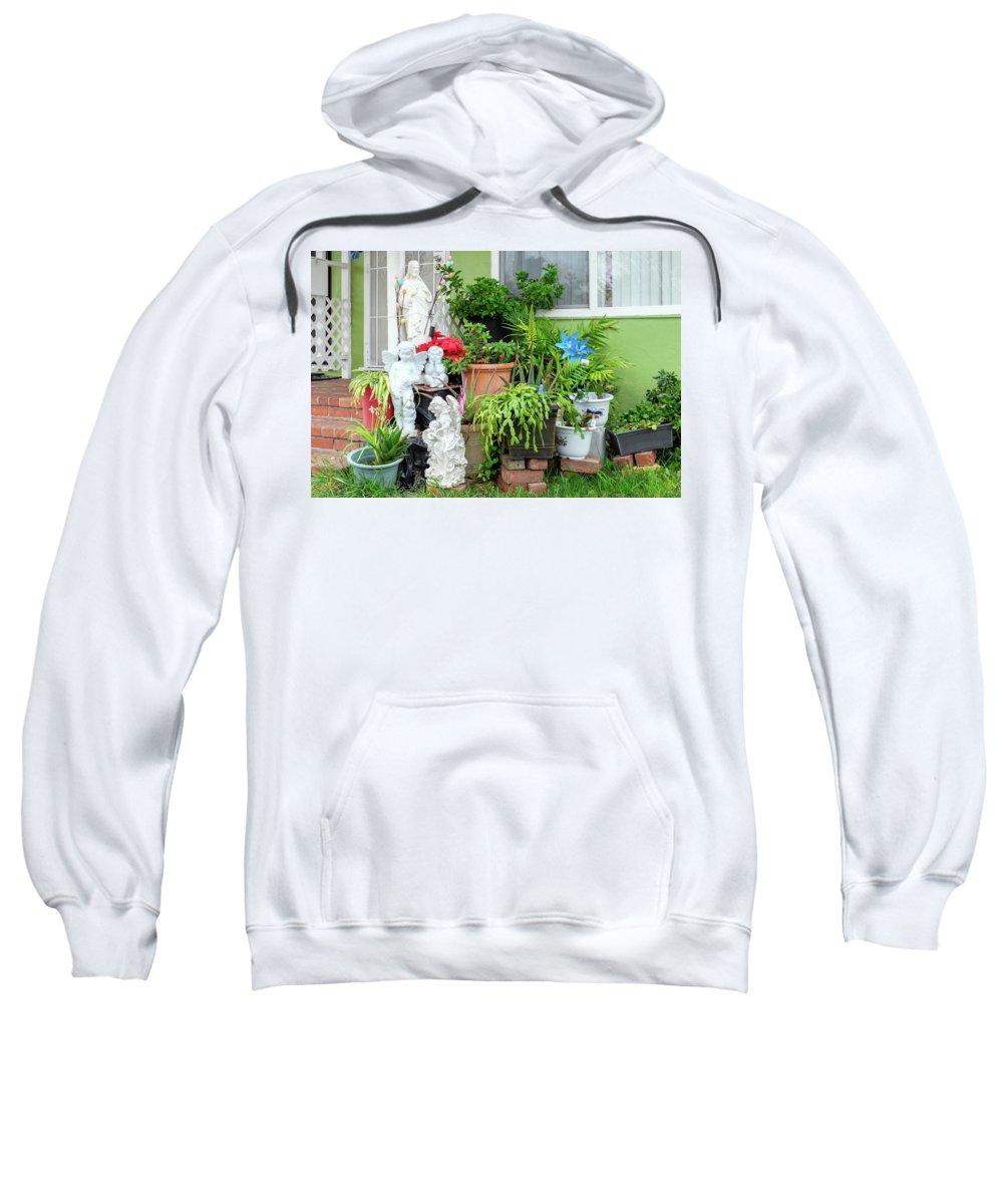 Suburbia Sweatshirt featuring the photograph Suburban House With Front Yard Religious Shrine Hayward California 10 by Kathy Anselmo