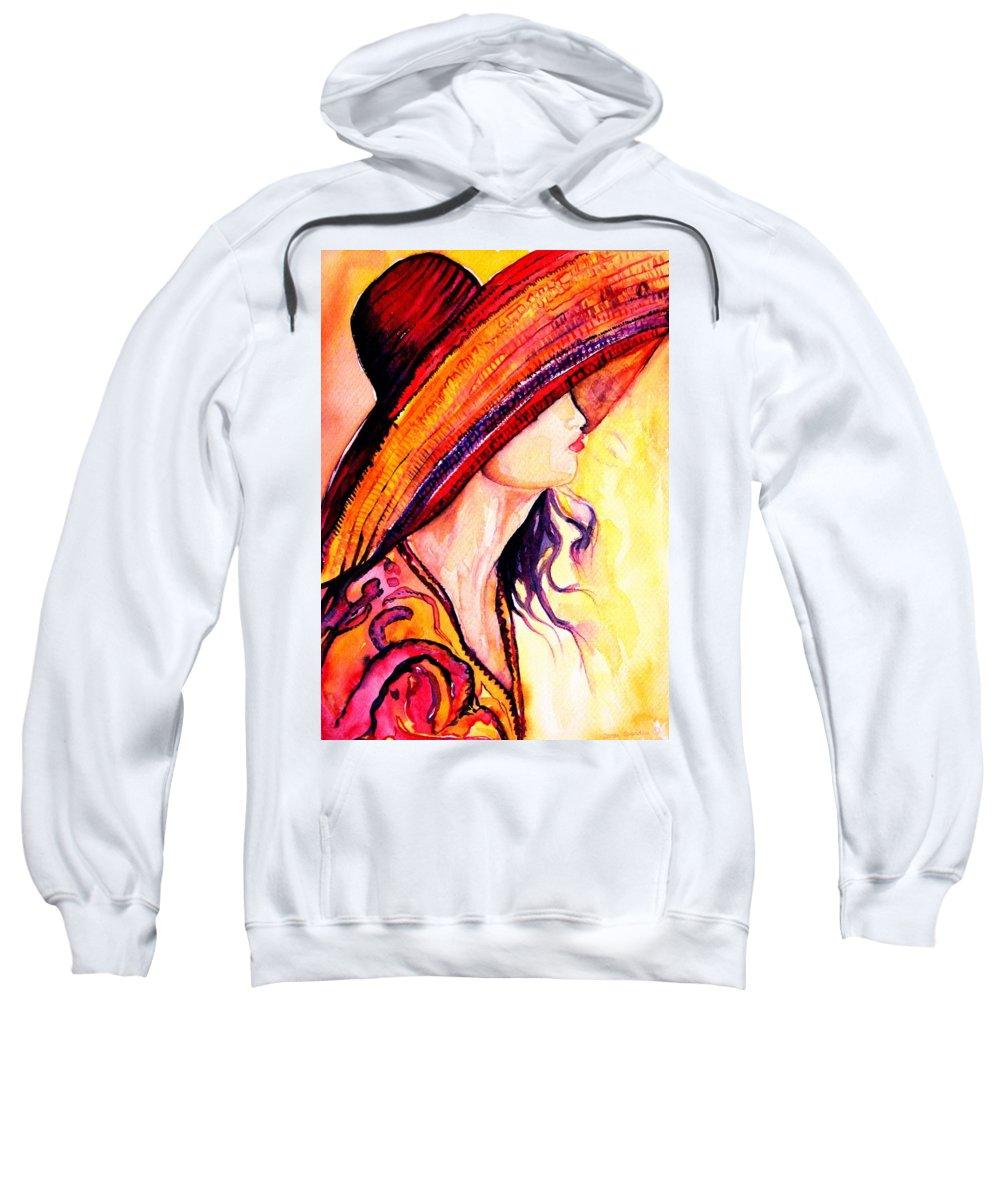 Elegant Lady Sweatshirt featuring the painting Summer Hat by Carole Spandau