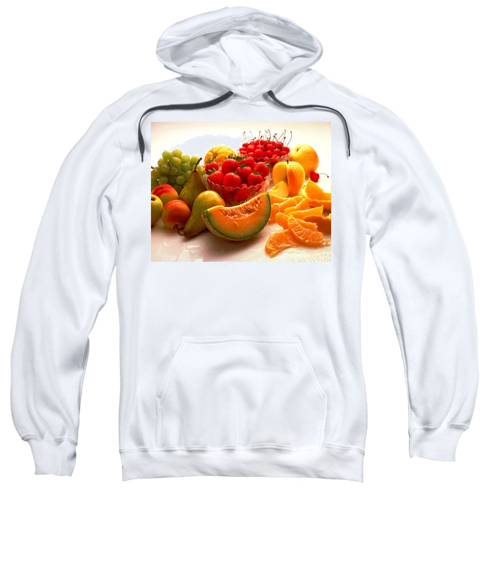 Fruit Sweatshirt featuring the photograph Summertime Fruit On White by Thomas Firak