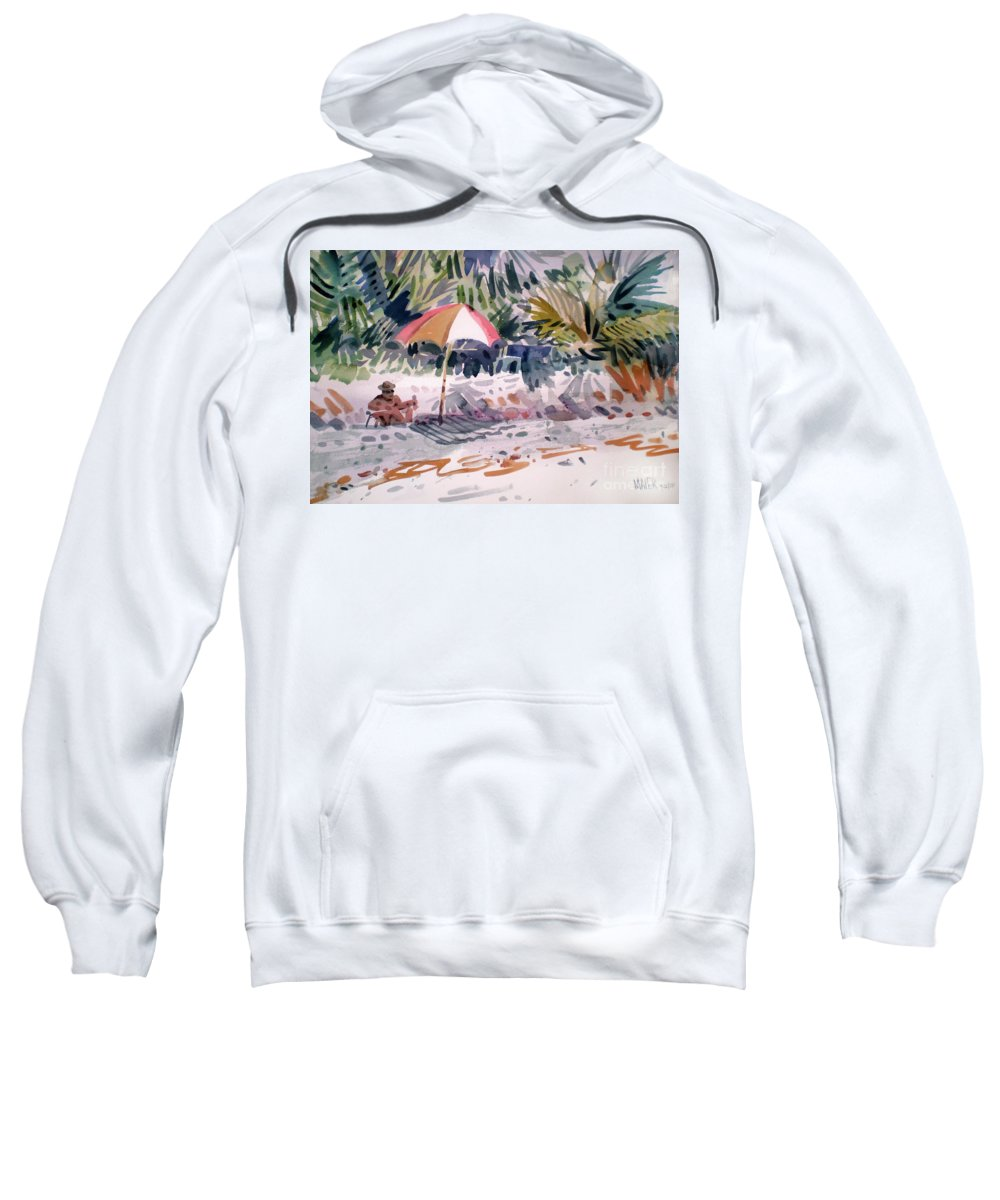 Captiva Island Sweatshirt featuring the painting Sunbather by Donald Maier