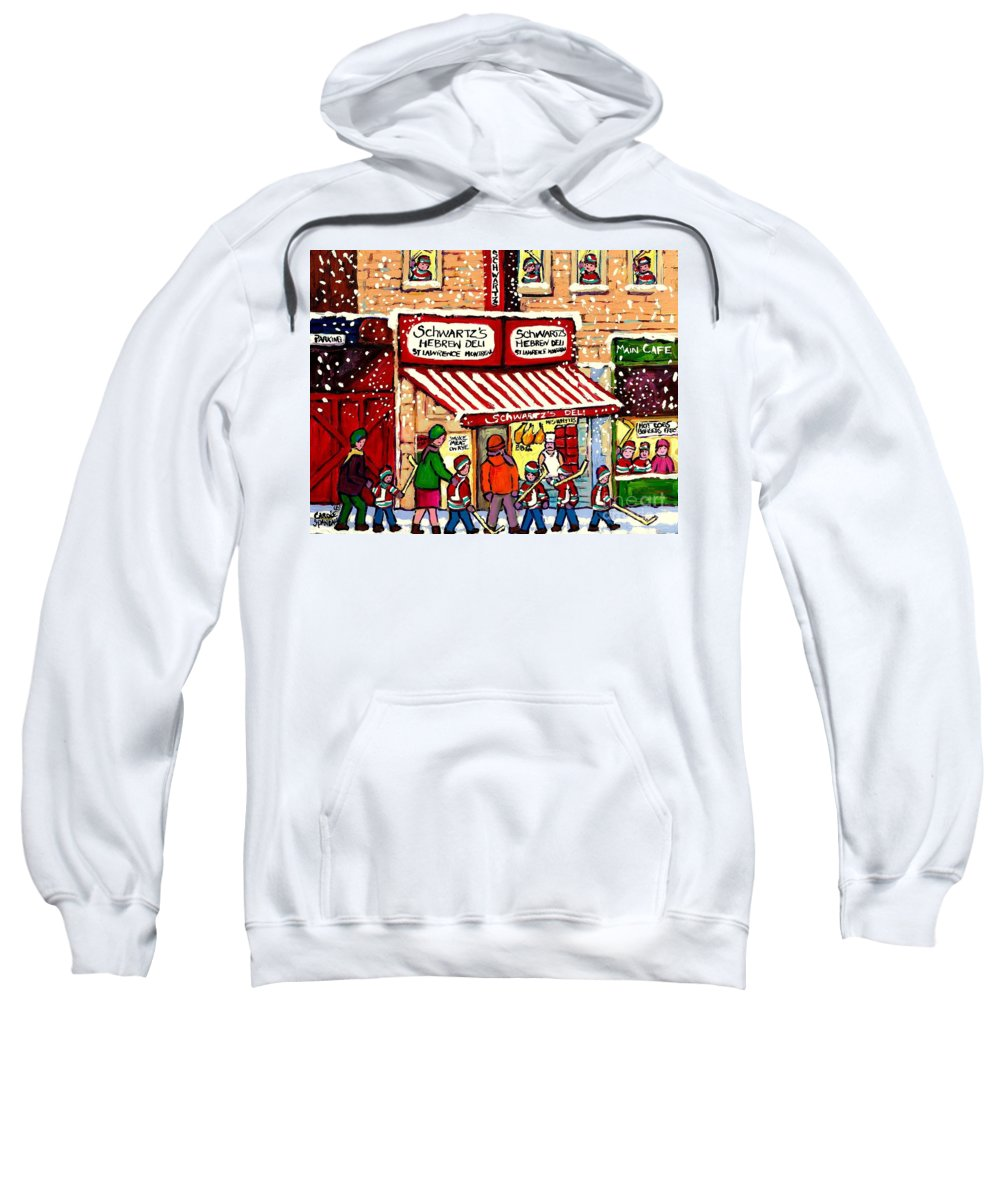 Montreal Sweatshirt featuring the painting Sunday Lineup At The Deli by Carole Spandau