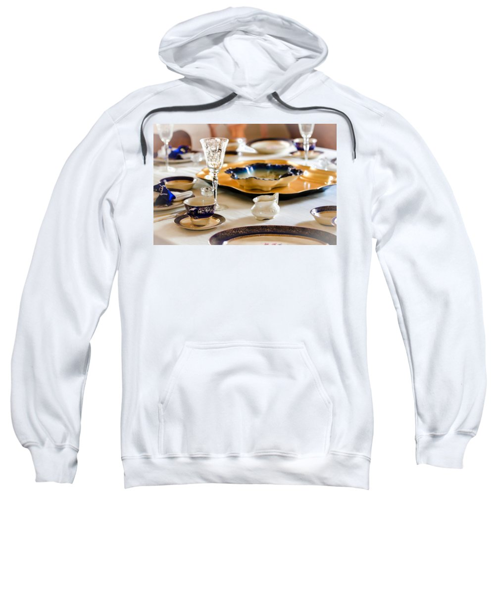 Table Sweatshirt featuring the photograph Sunday Lunch With Grandma by Carolyn Marshall