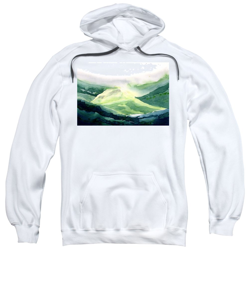 Landscape Sweatshirt featuring the painting Sunlit Mountain by Anil Nene