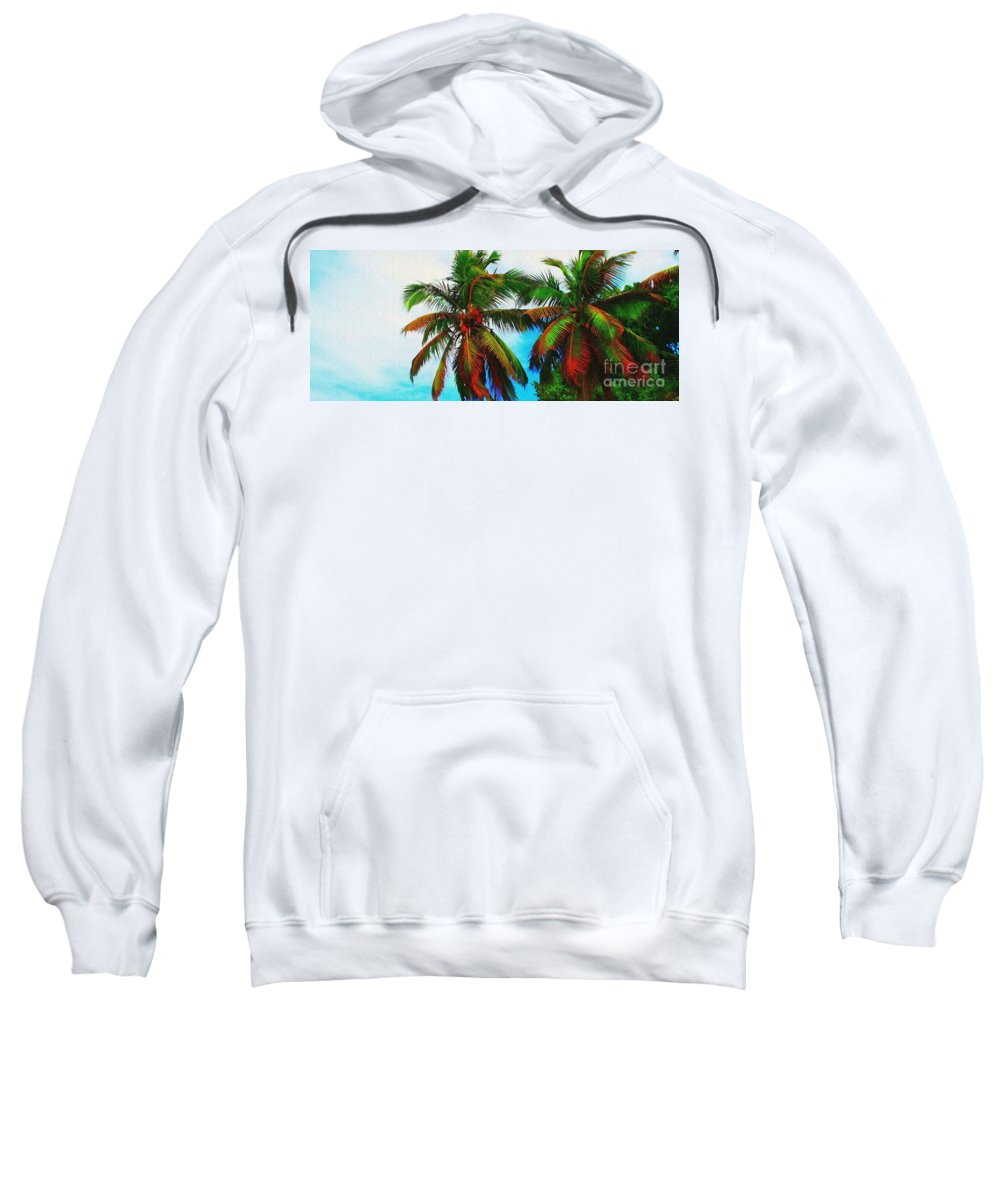 Palm Sweatshirt featuring the photograph Sunny Palms by Perry Webster