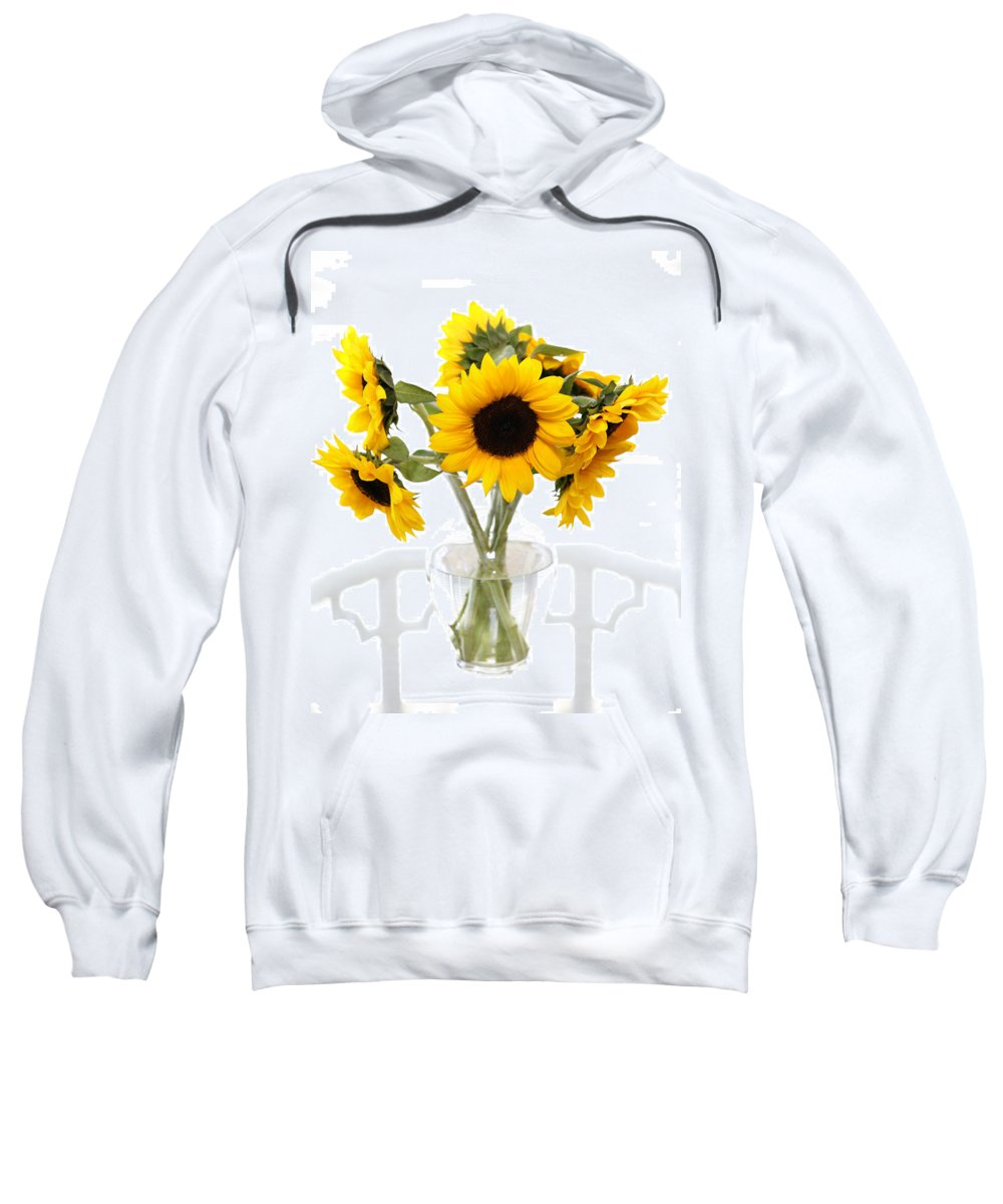 Sunflower Sweatshirt featuring the photograph Sunny Vase Of Sunflowers by Marilyn Hunt