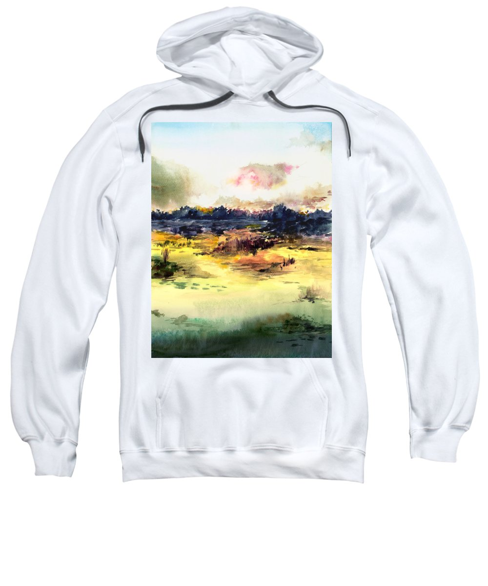Landscape Water Color Sky Sunrise Water Watercolor Digital Mixed Media Sweatshirt featuring the painting Sunrise by Anil Nene