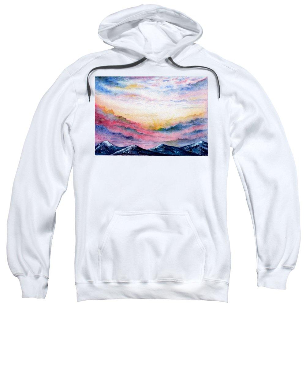 Watercolor Sweatshirt featuring the painting Sunrise by Brenda Owen