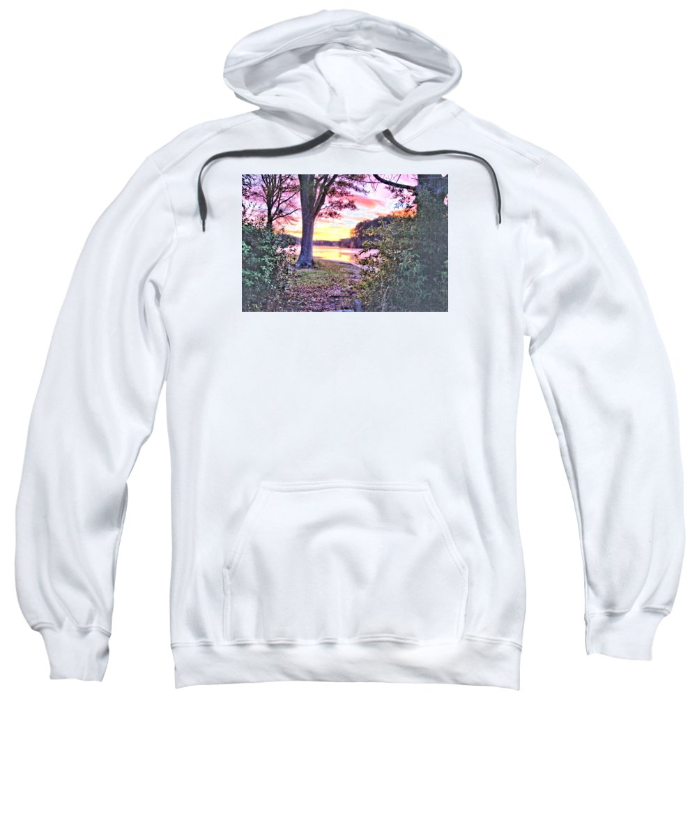 7602 Sweatshirt featuring the photograph Sunrise Over A Misty Pond by Gordon Elwell