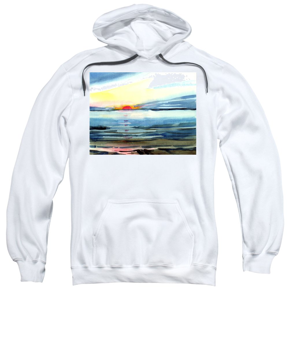 Landscape Seascape Ocean Water Watercolor Sunset Sweatshirt featuring the painting Sunset by Anil Nene