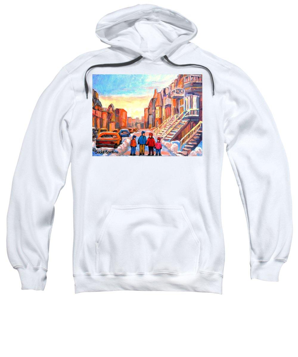 Sunset On Hotel De Ville Montreal Sweatshirt featuring the painting Sunset On Hotel De Ville Street Montreal by Carole Spandau