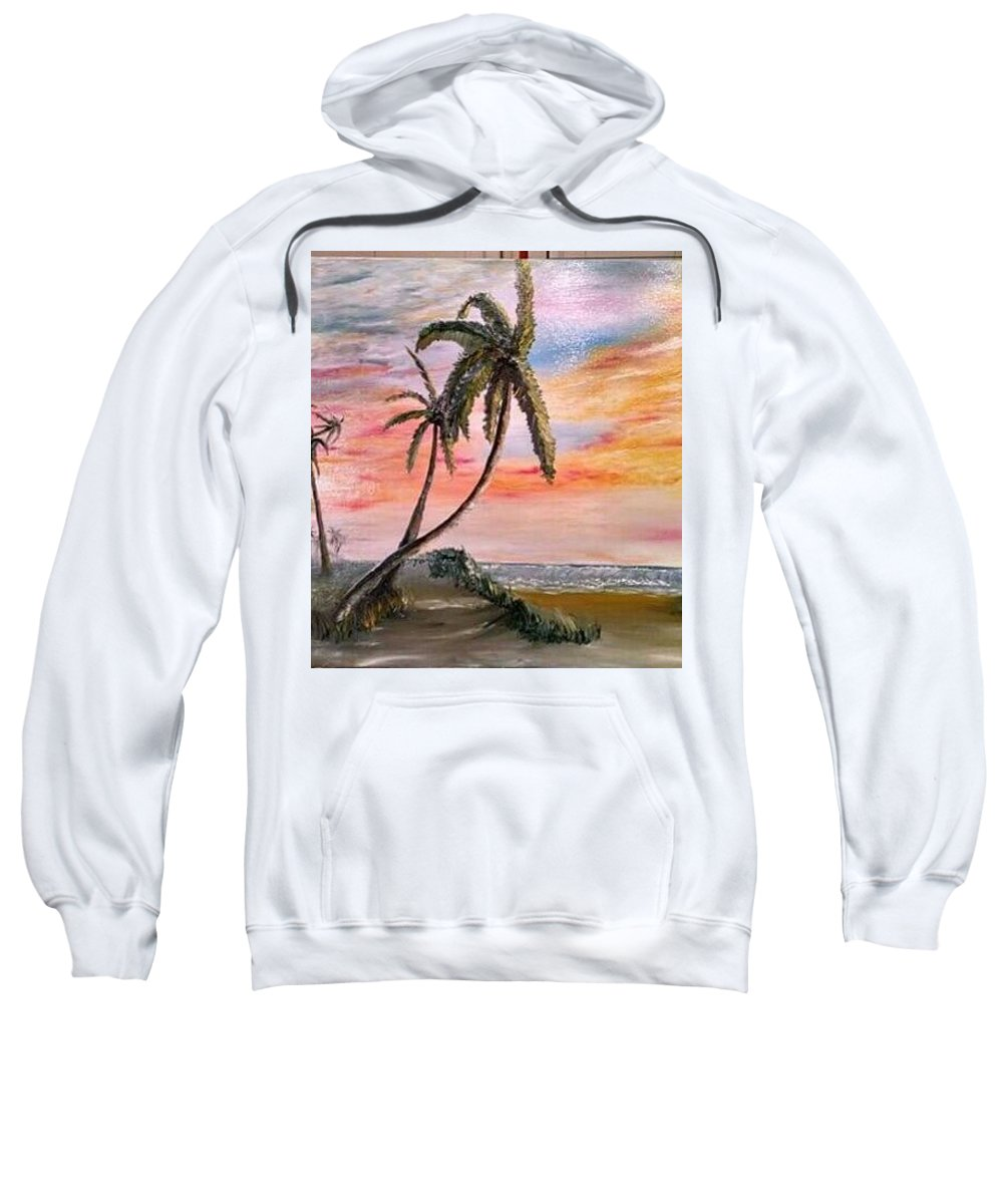 Sunset Sweatshirt featuring the painting Sunset Palms by Michael Lee