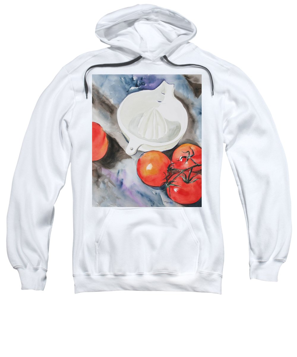 Tomatoes Sweatshirt featuring the painting Sunshine On The Vine by Jean Blackmer