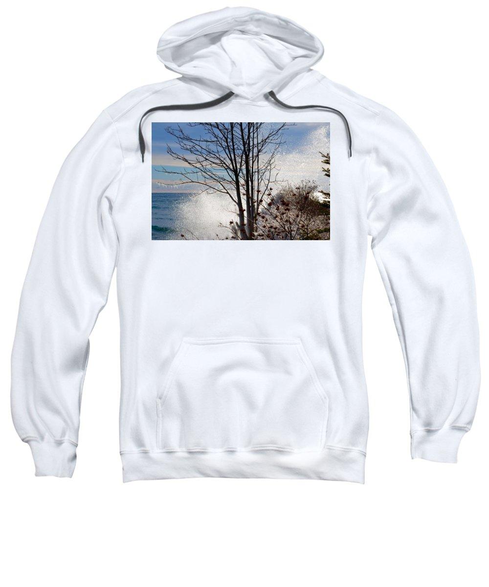 Lake Superior Sweatshirt featuring the photograph Sunshine With A Splash by Hella Buchheim