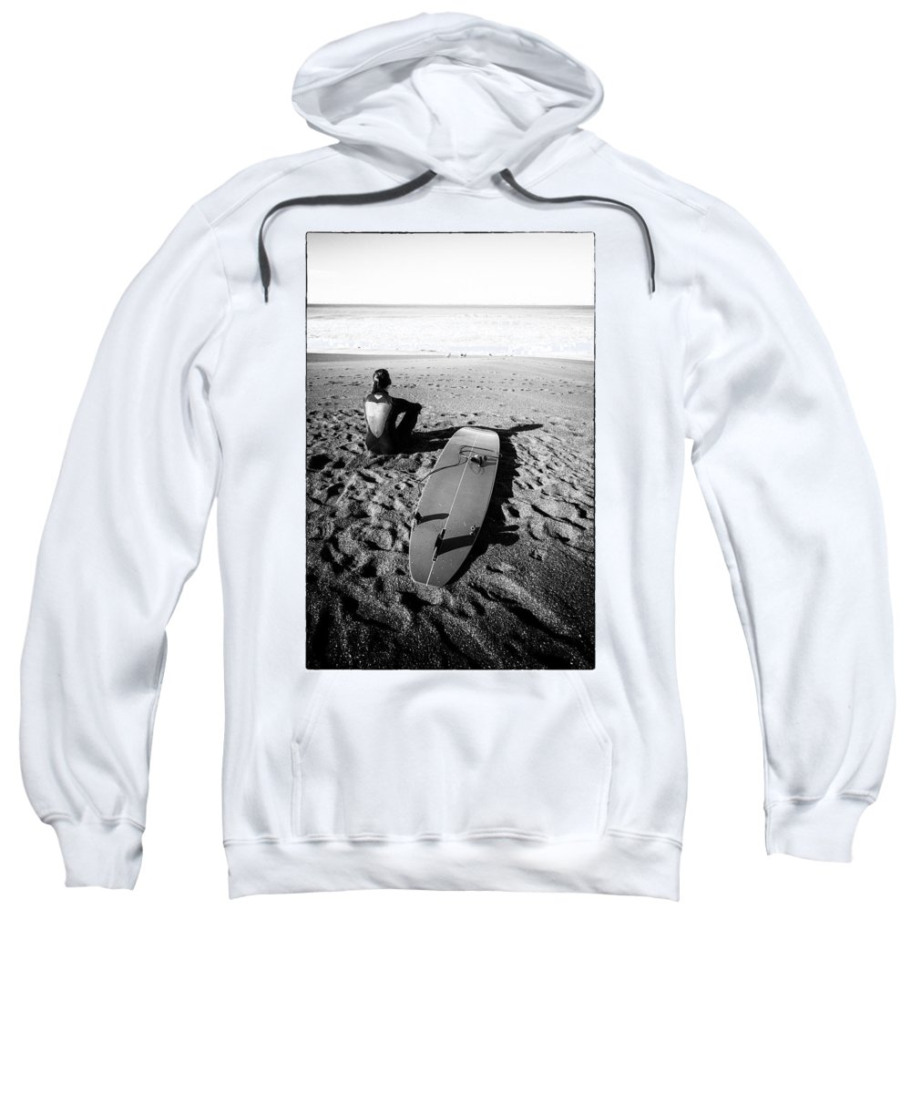 B&w Sweatshirt featuring the photograph Surfer Girl by Laura Macky