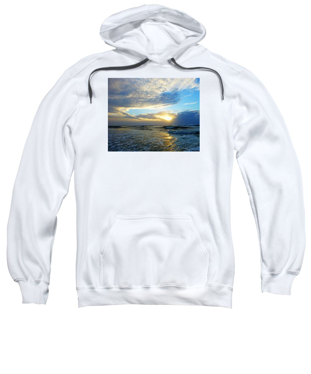 St. Augustine Sweatshirt featuring the photograph St. Augustine Beach Sunrise Surf by Phil King