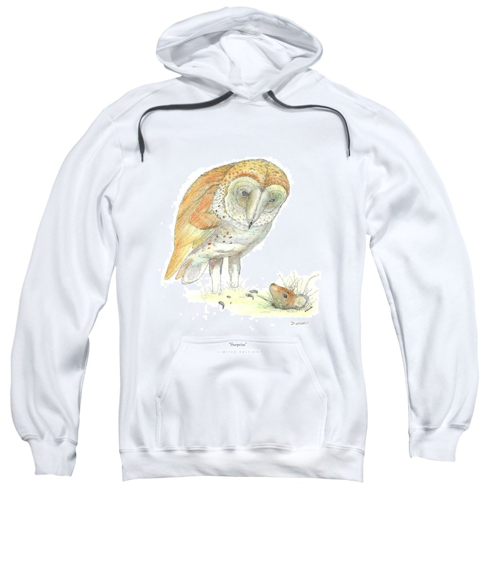 Owl Standing Over Field Mouse Sweatshirt featuring the drawing Surprise by David Weaver