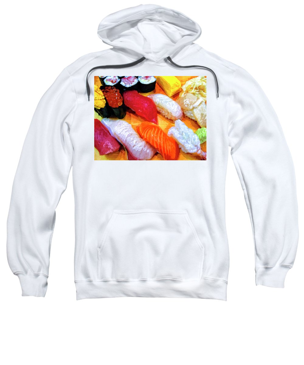 Sushi Plate Sweatshirt featuring the mixed media Sushi Plate 4 by Dominic Piperata