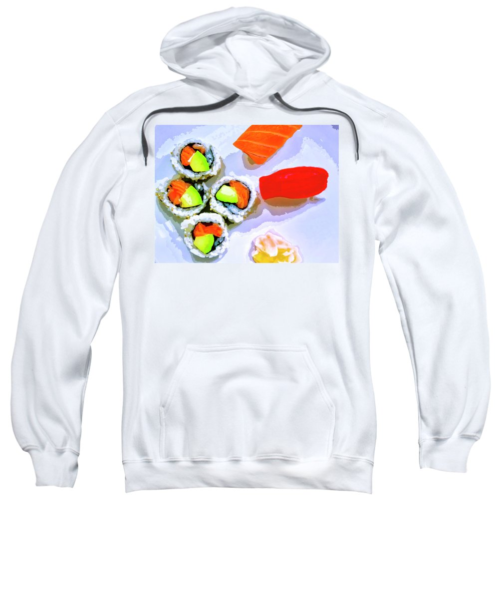 Sushi Plate Sweatshirt featuring the mixed media Sushi Plate 6 by Dominic Piperata