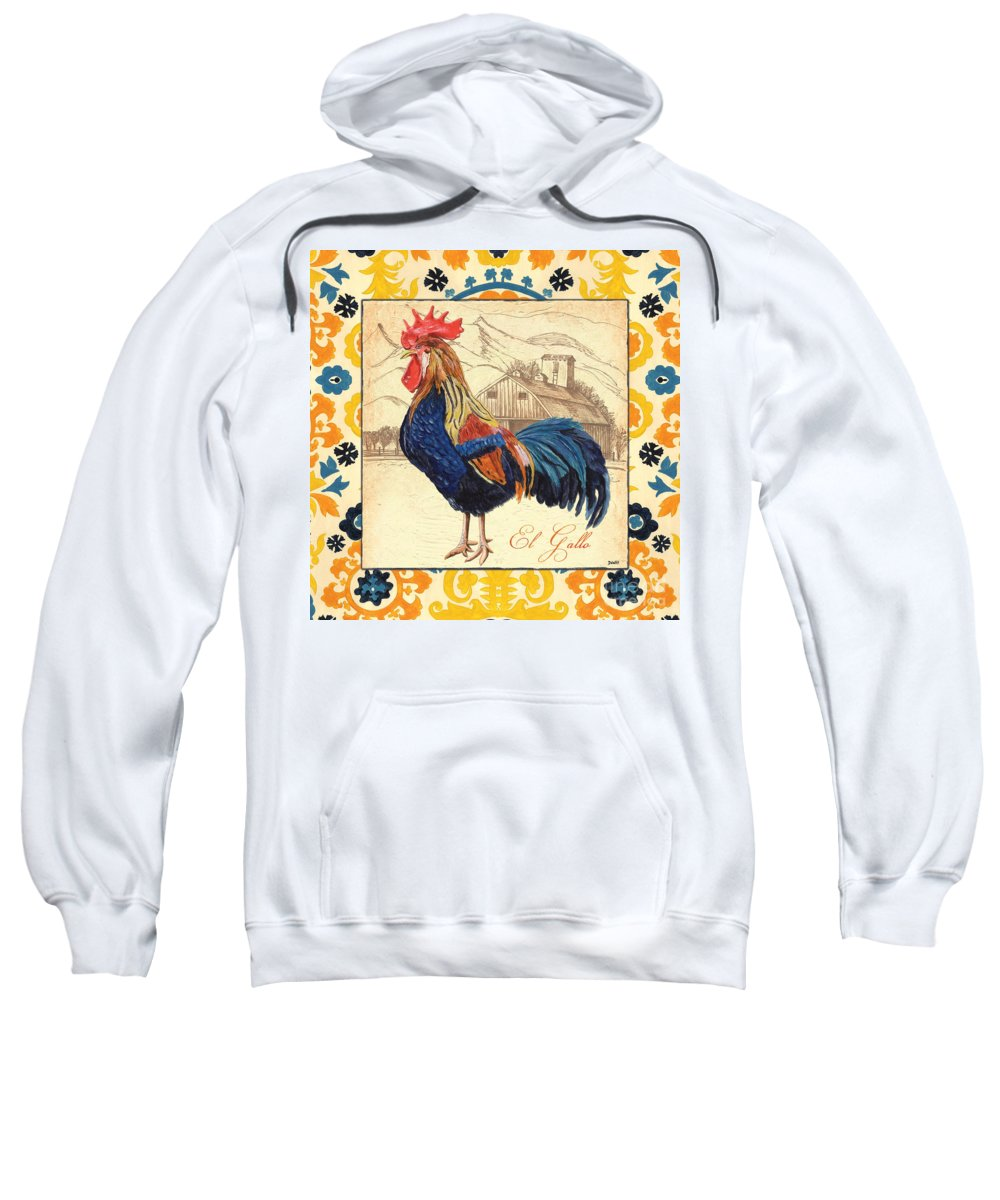 Rooster Sweatshirt featuring the painting Suzani Rooster 1 by Debbie DeWitt