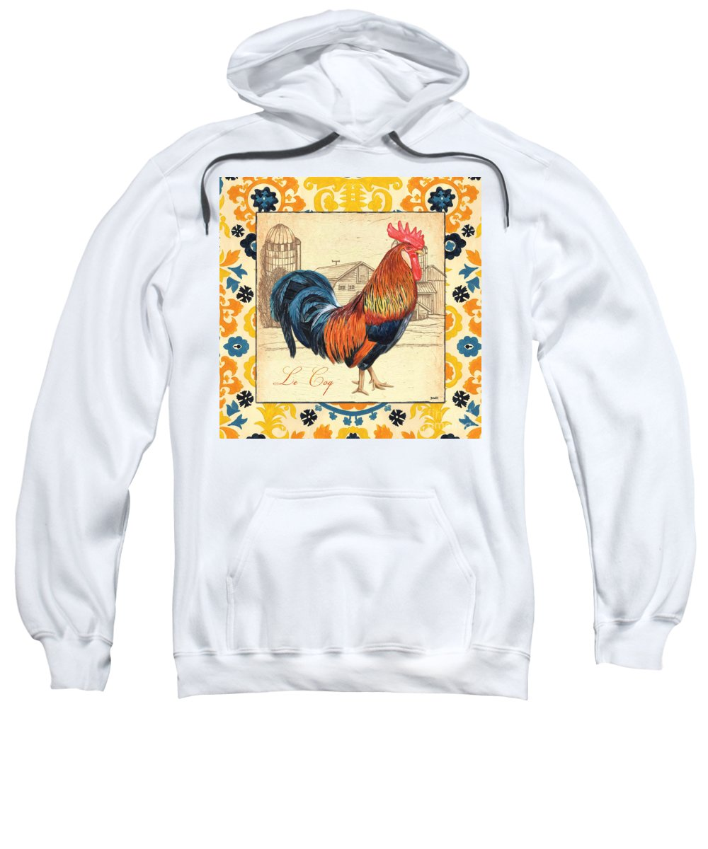 Rooster Sweatshirt featuring the painting Suzani Rooster 2 by Debbie DeWitt