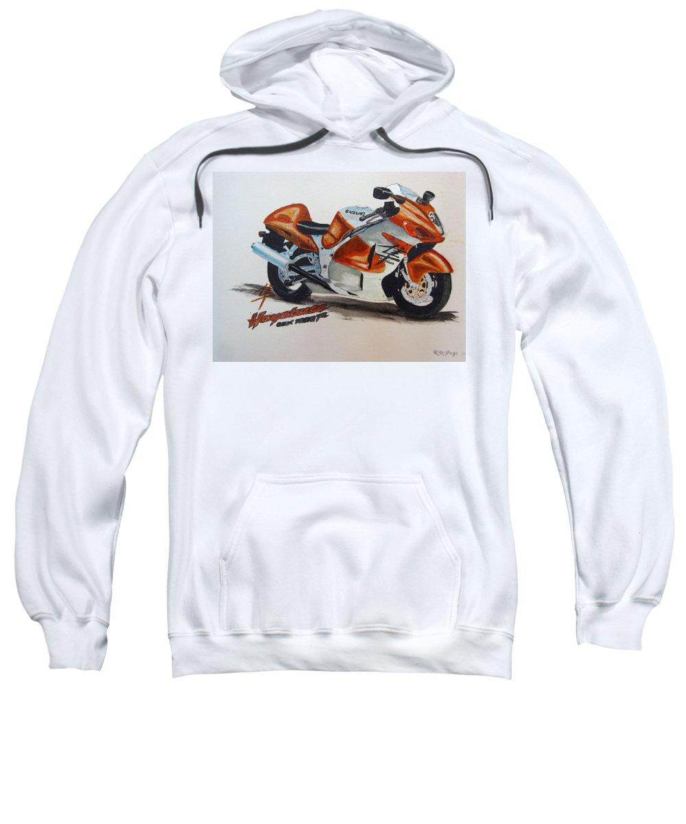 Suzuki Hayabusa Sweatshirt featuring the painting Suzuki Hayabusa by Richard Le Page