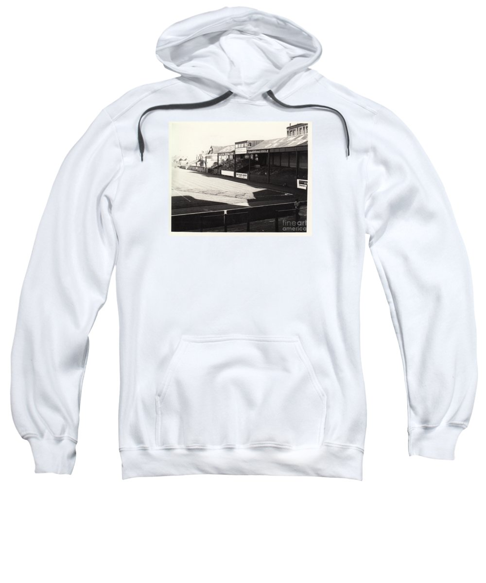 Sweatshirt featuring the photograph Swansea - Vetch Field - North Bank 1 - Bw - 1960s by Legendary Football Grounds