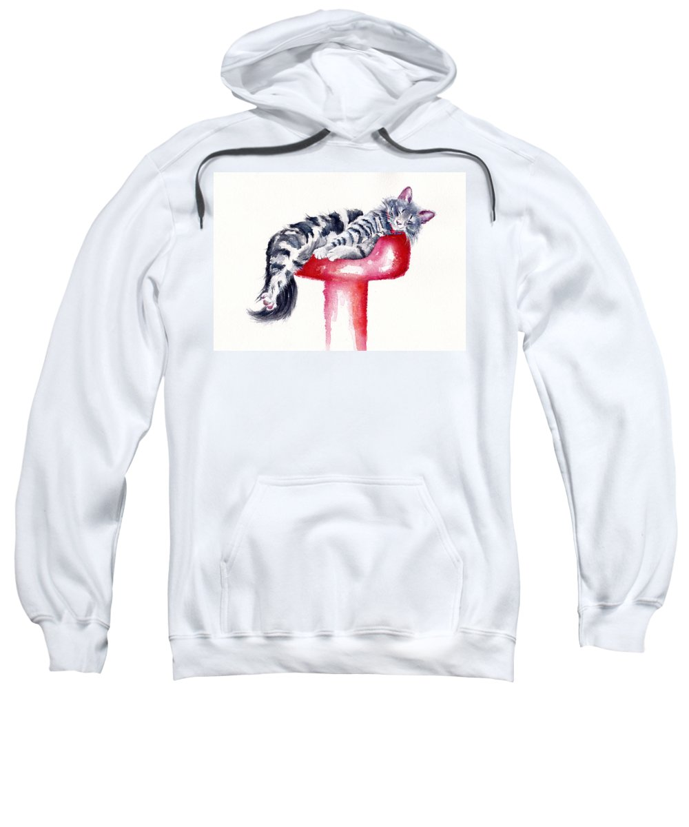 Cats Sweatshirt featuring the painting Sweet Dreams by Debra Hall