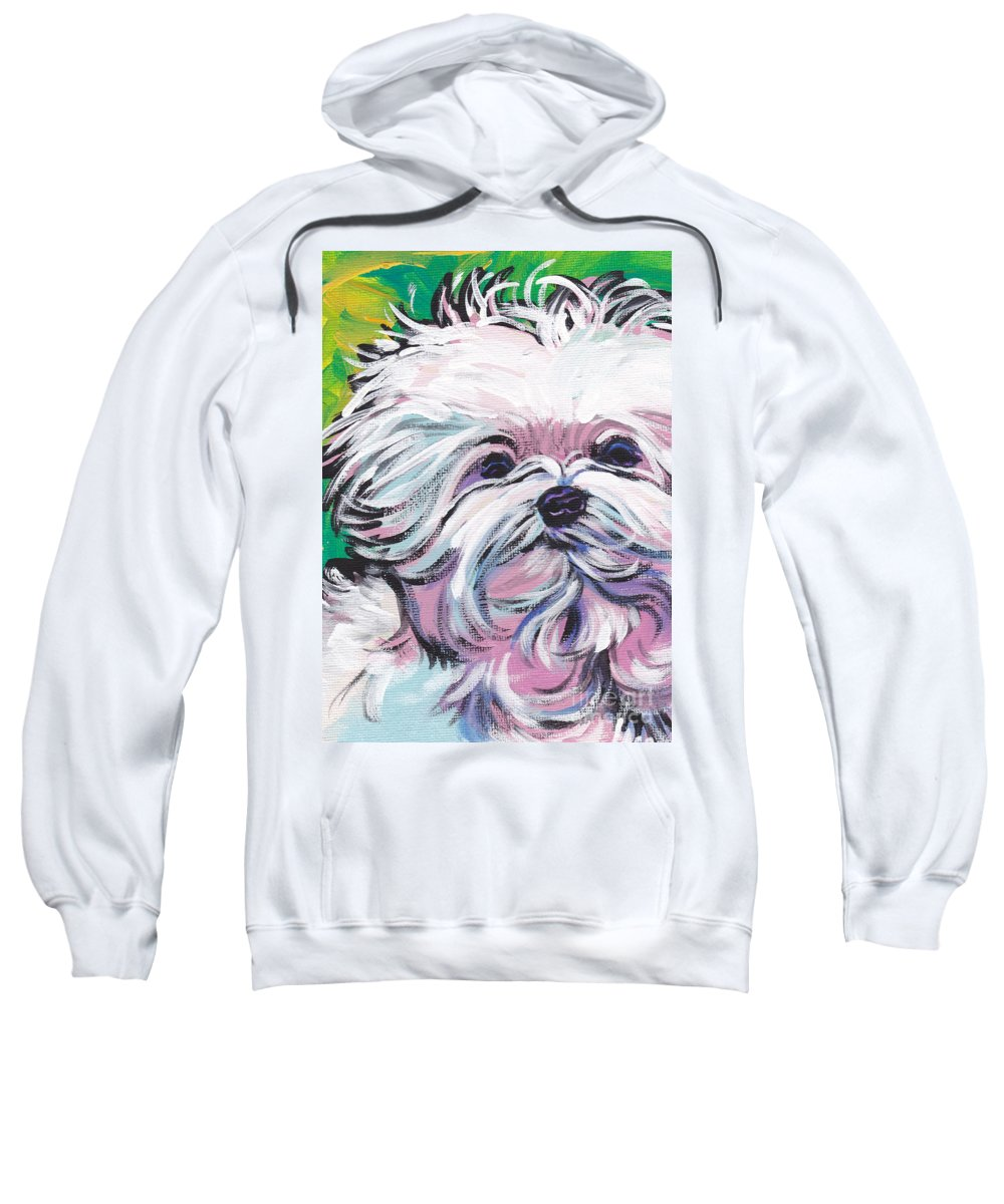 Maltese Sweatshirt featuring the painting Sweet Maltese by Lea S