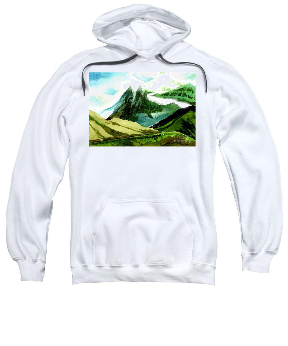 Landscape Sweatshirt featuring the painting Switzerland by Anil Nene