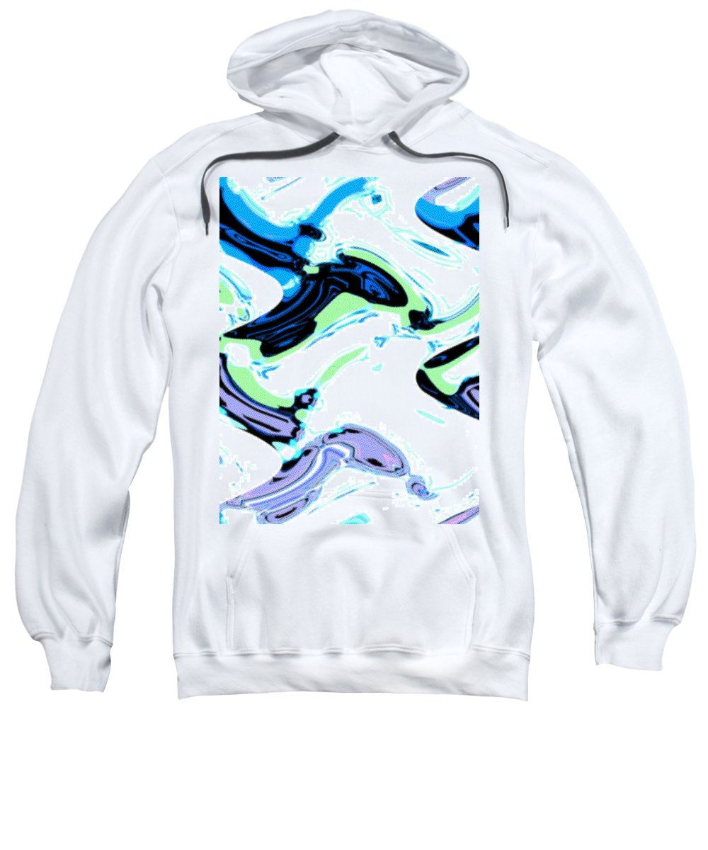 Abstract Sweatshirt featuring the digital art Tadpoles And Sharks by Lenore Senior