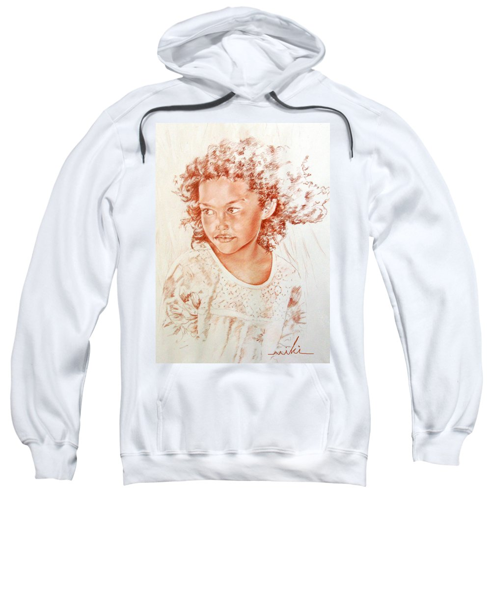 Drawing Persons Sweatshirt featuring the painting Tahitian Girl by Miki De Goodaboom