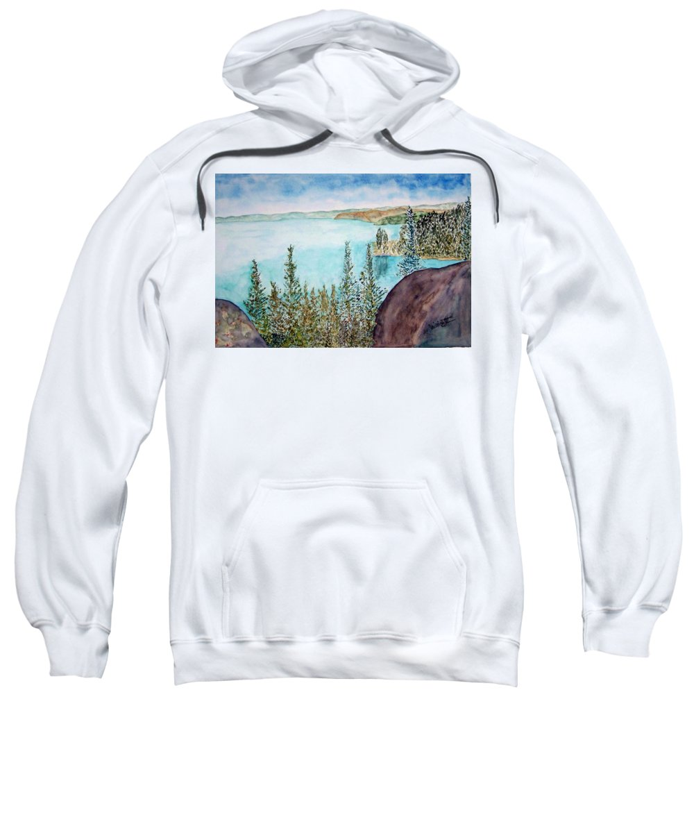 Tahoe Sweatshirt featuring the painting Tahoe Remembered by Larry Wright
