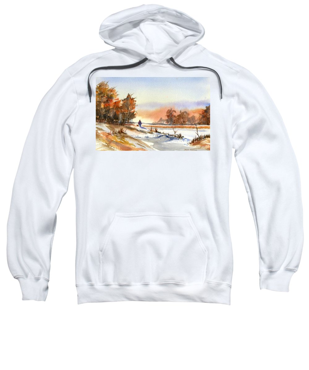 Peaceful Sweatshirt featuring the painting Taking A Walk by Debbie Lewis