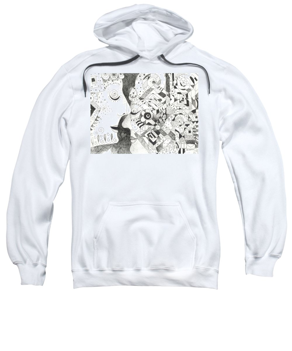 Relationship Sweatshirt featuring the drawing Tall Tales by Helena Tiainen