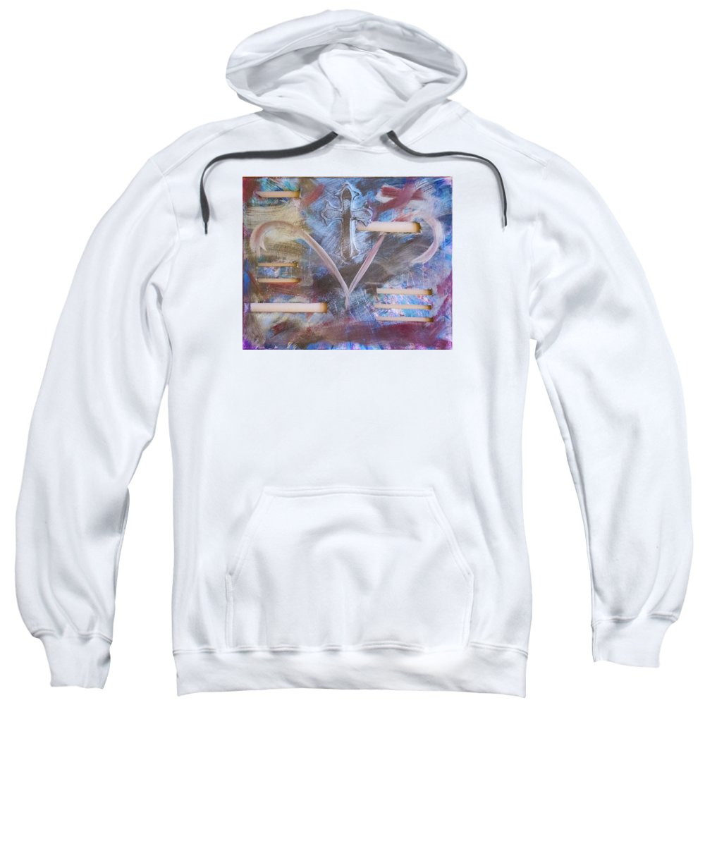 Cross Sweatshirt featuring the painting Tarnished by Jacie Garcia