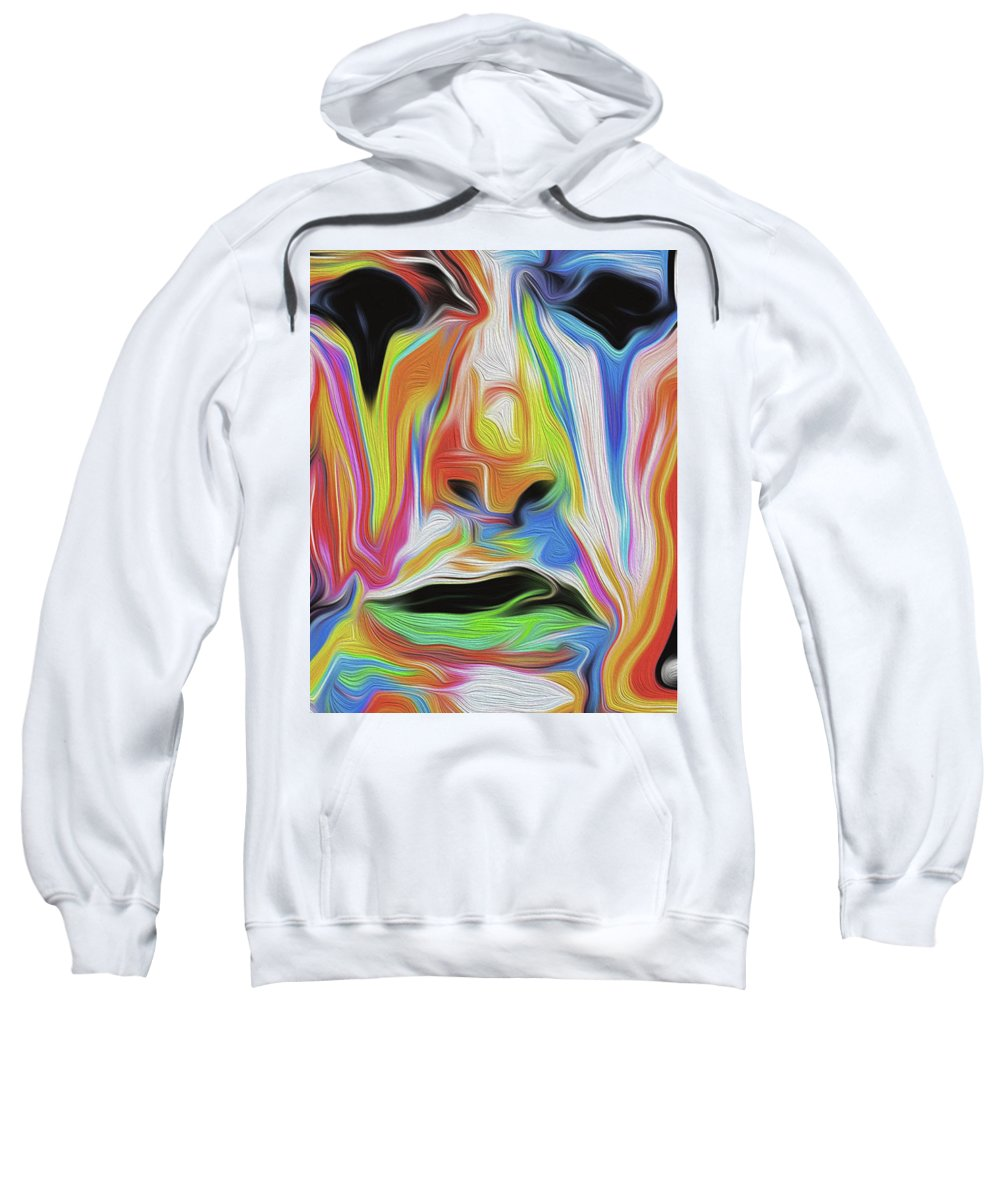 Abstract Sweatshirt featuring the mixed media Tearful Clown by Nicholas Efthimiou