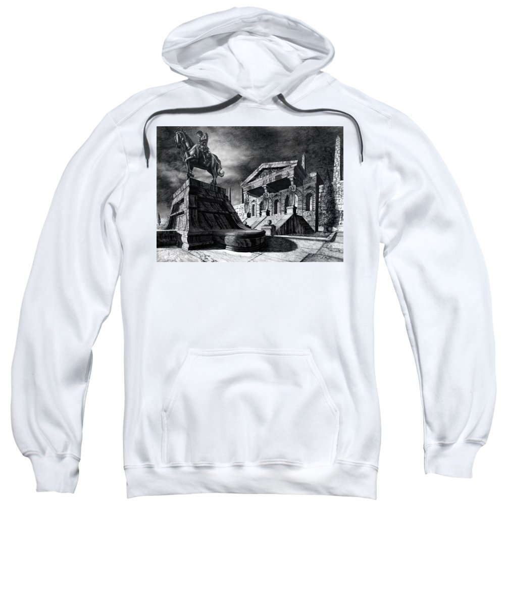 Greek Architecture Sweatshirt featuring the drawing Temple Of Perseus by Curtiss Shaffer