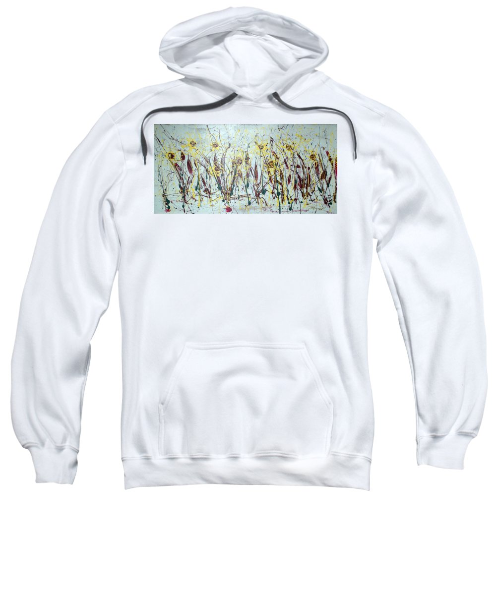 Flowers Sweatshirt featuring the painting Tending My Garden by J R Seymour