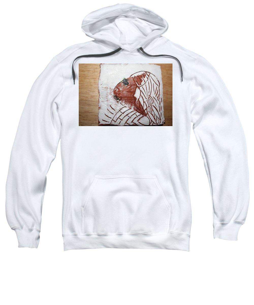 Jesus Sweatshirt featuring the ceramic art Tendo - Tile by Gloria Ssali