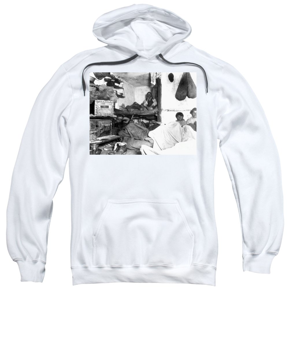 1889 Sweatshirt featuring the photograph Tenement Life, Nyc, C1889 by Granger
