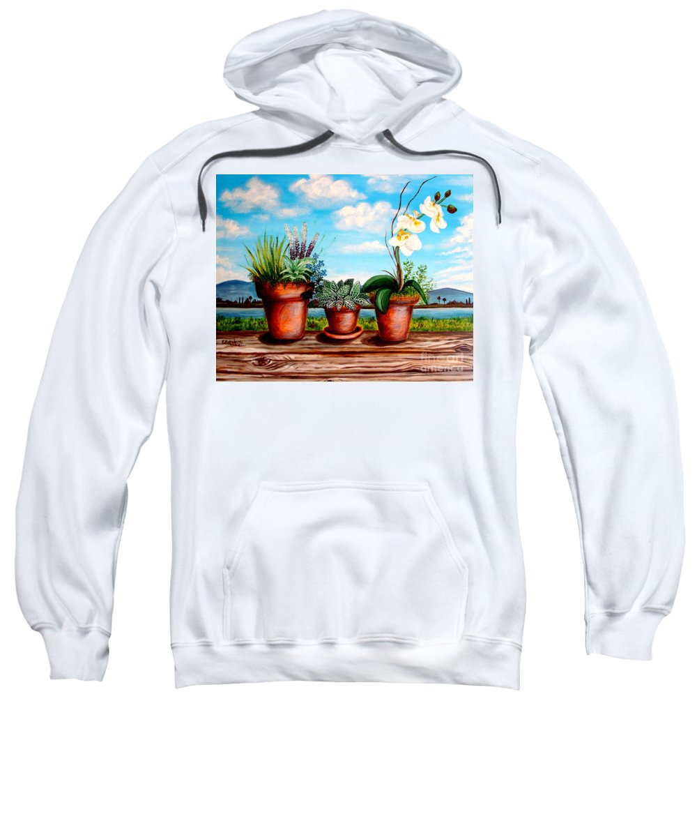 Landscape Sweatshirt featuring the painting Terra Cotta Blues by Elizabeth Robinette Tyndall