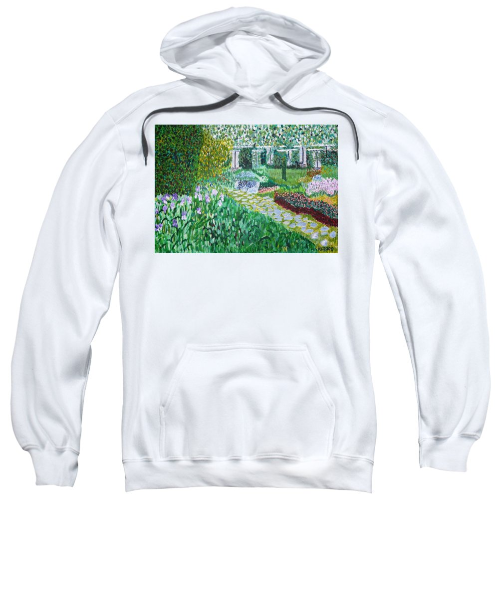 Landscape Sweatshirt featuring the painting Tete D'or Park Lyon France by Valerie Ornstein