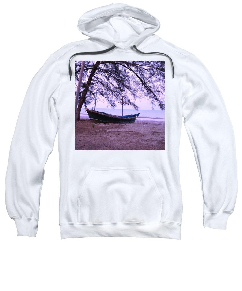 Landscape Sweatshirt featuring the photograph Thai Fishing Boat 04 by Pusita Gibbs