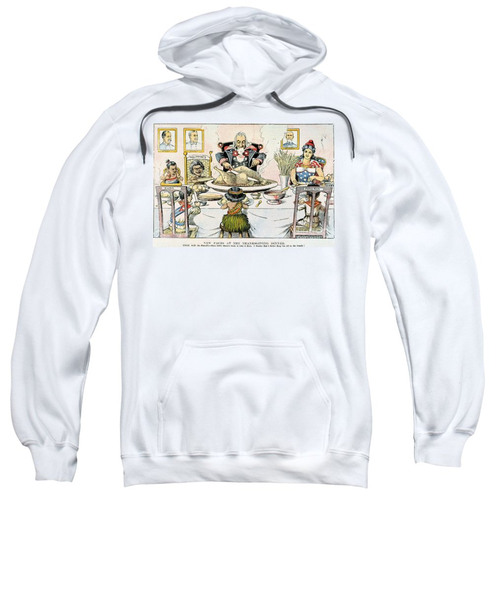 1898 Sweatshirt featuring the photograph Thanksgiving Cartoon, 1898 by Granger