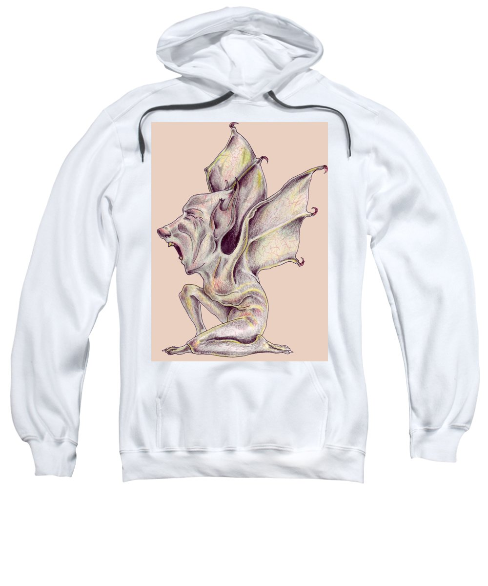 Bat Rat Man Drawings Color Pencil Sweatshirt featuring the drawing That Bat Man Rat by Veronica Jackson